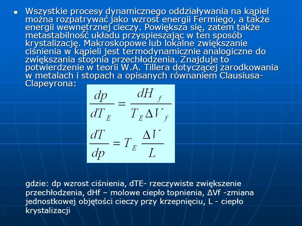 Wszystkie procesy dynamicznego oddziaływania na kąpiel można rozpatrywać jako wzrost energii Fermiego, a także energii wewnętrznej cieczy.