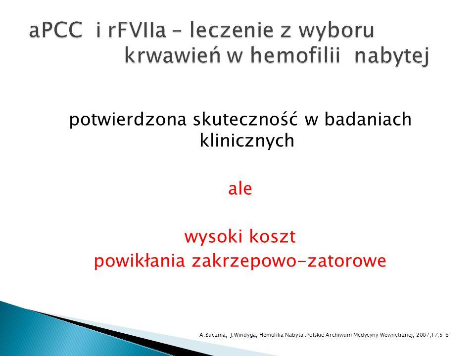 potwierdzona skuteczność w badaniach klinicznych ale wysoki koszt powikłania zakrzepowo-zatorowe A.Buczma, J.Windyga, Hemofilia Nabyta.Polskie Archiwu