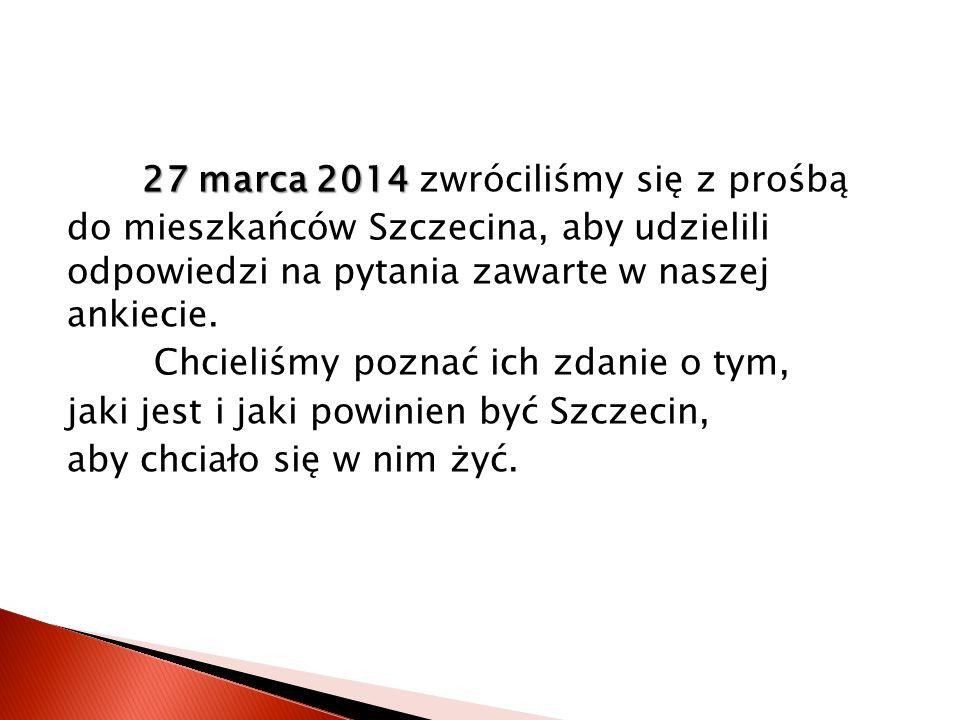 27 marca 2014 27 marca 2014 zwróciliśmy się z prośbą do mieszkańców Szczecina, aby udzielili odpowiedzi na pytania zawarte w naszej ankiecie.