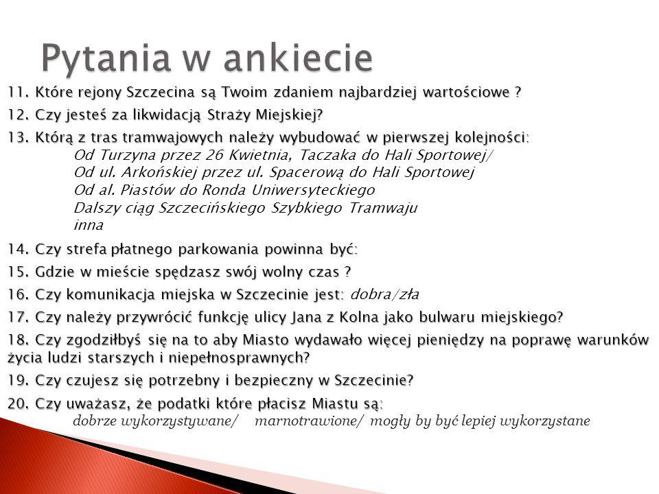 11. Które rejony Szczecina są Twoim zdaniem najbardziej wartościowe .