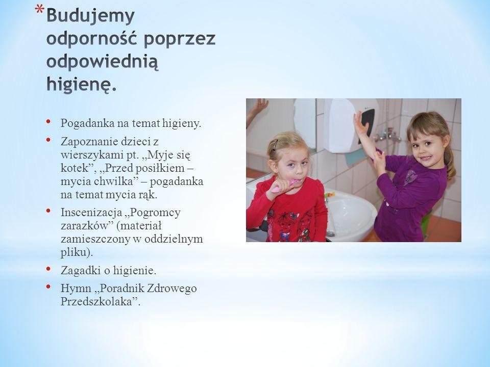 """Pogadanka na temat higieny. Zapoznanie dzieci z wierszykami pt. """"Myje się kotek"""", """"Przed posiłkiem – mycia chwilka"""" – pogadanka na temat mycia rąk. In"""