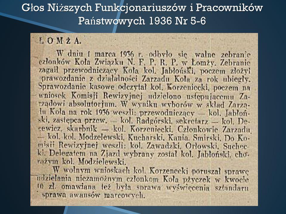 G ł os Ni ż szych Funkcjonariuszów i Pracowników Pa ń stwowych 1936 Nr 5-6