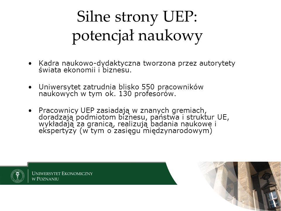 Silne strony UEP: potencjał naukowy Kadra naukowo-dydaktyczna tworzona przez autorytety świata ekonomii i biznesu.