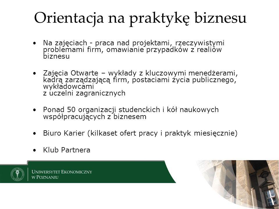 Orientacja na praktykę biznesu Na zajęciach - praca nad projektami, rzeczywistymi problemami firm, omawianie przypadków z realiów biznesu Zajęcia Otwa