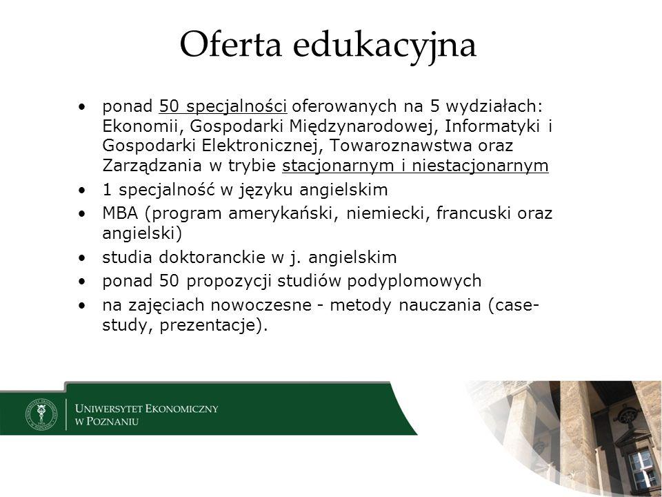 Oferta edukacyjna ponad 50 specjalności oferowanych na 5 wydziałach: Ekonomii, Gospodarki Międzynarodowej, Informatyki i Gospodarki Elektronicznej, To