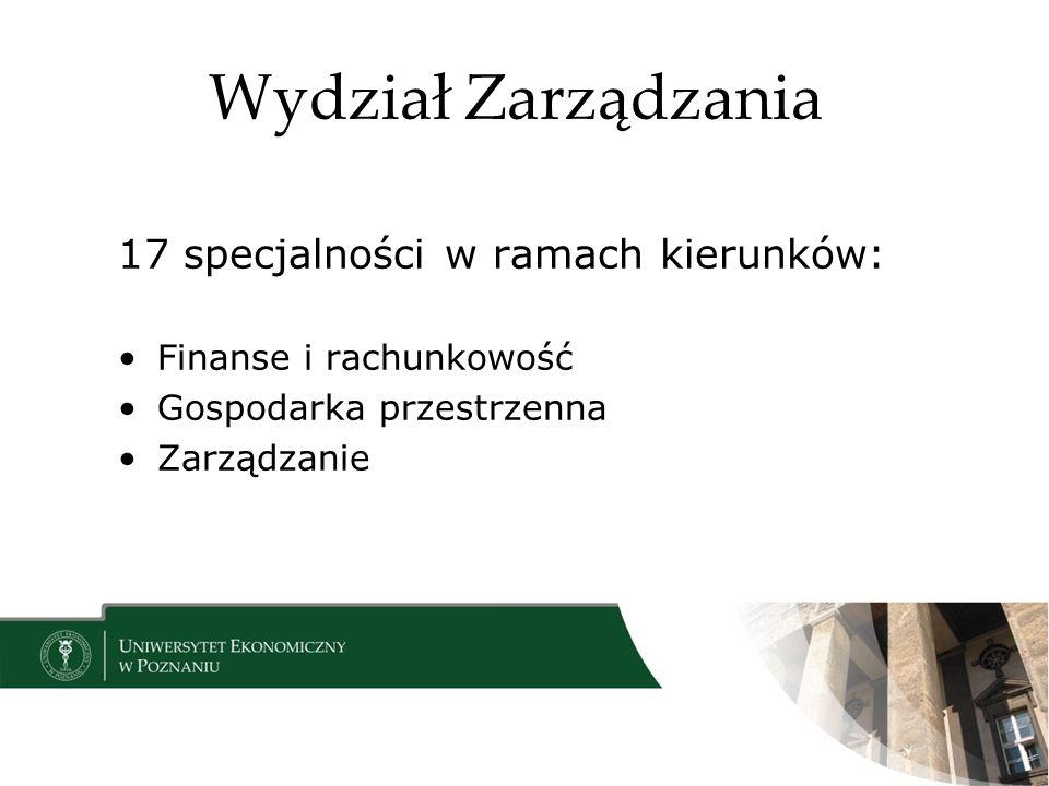 Wydział Zarządzania 17 specjalności w ramach kierunków: Finanse i rachunkowość Gospodarka przestrzenna Zarządzanie