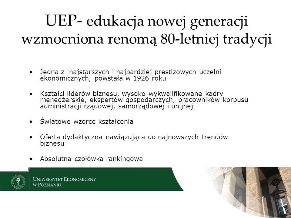 UEP- edukacja nowej generacji wzmocniona renomą 80-letniej tradycji Jedna z najstarszych i najbardziej prestiżowych uczelni ekonomicznych, powstała w 1926 roku Kształci liderów biznesu, wysoko wykwalifikowane kadry menedżerskie, ekspertów gospodarczych, pracowników korpusu administracji rządowej, samorządowej i unijnej Światowe wzorce kształcenia Oferta dydaktyczna nawiązująca do najnowszych trendów biznesu Absolutna czołówka rankingowa