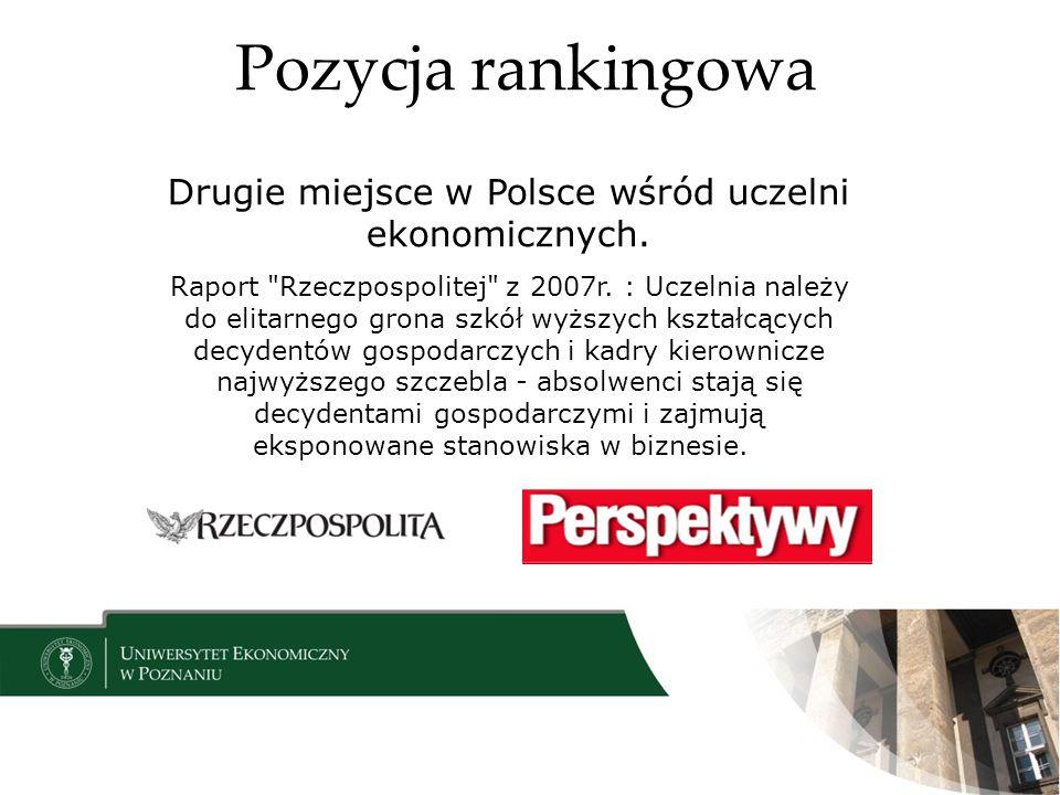 Pozycja rankingowa Drugie miejsce w Polsce wśród uczelni ekonomicznych. Raport