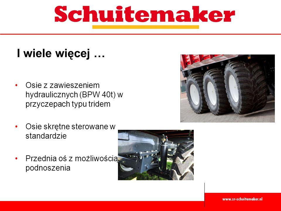 www.sr-schuitemaker.nl I wiele więcej … Osie z zawieszeniem hydraulicznych (BPW 40t) w przyczepach typu tridem Osie skrętne sterowane w standardzie Pr