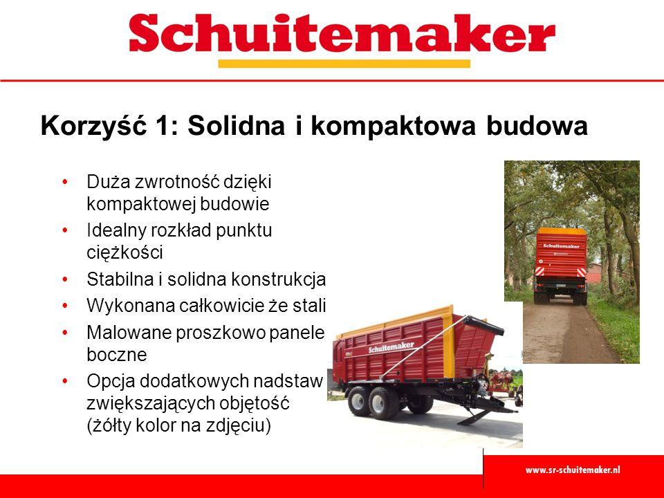 www.sr-schuitemaker.nl Korzyść 2: Bezproblemowa obsługa Rozładunek mechaniczny w standardzie Rozładunek hydrauliczny w opcji dla przyczep z walcami ścielącymi Dyszel resorowany podkładami gumowymi Dyszel resorowany hydrauliczni dla jeszcze większego komfortu w opcji dla przyczep na zawieszeniu tandem