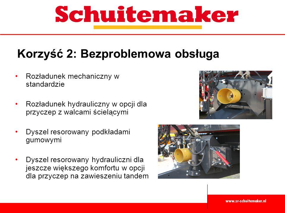 www.sr-schuitemaker.nl Korzyść 2: Bezproblemowa obsługa Rozładunek mechaniczny w standardzie Rozładunek hydrauliczny w opcji dla przyczep z walcami śc