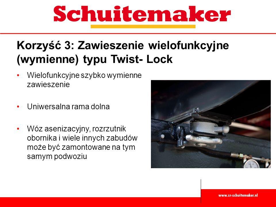 www.sr-schuitemaker.nl Korzyść 4: Wytrzymałe i niezawodne & wielozadaniowe łańcuchy podogowe W standardzie przenośnik podłogowy napędzany mechanicznie, napędzany obustronnie Podwójne łańcuchy, 4 pasma Niezawodne i wytrzymałe, duża wytrzymałość mierzona w kg ładunku i prędkości Wysoka jakość Samooczyszczające się, koła zębate wypychają materiał z łańcuchów Zaprojektowane dla pracy z każdym materiałem: trawą, kukurydzą, ziarnem, trocinami, burakami cukrowymi, obornikiem końskim itp.