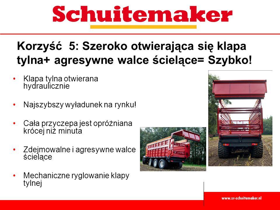 www.sr-schuitemaker.nl Korzyść 5: Szeroko otwierająca się klapa tylna+ agresywne walce ścielące= Szybko! Klapa tylna otwierana hydraulicznie Najszybsz