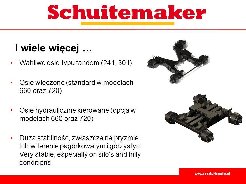 www.sr-schuitemaker.nl I wiele więcej … Wahliwe osie typu tandem (24 t, 30 t) Osie wleczone (standard w modelach 660 oraz 720) Osie hydraulicznie kier