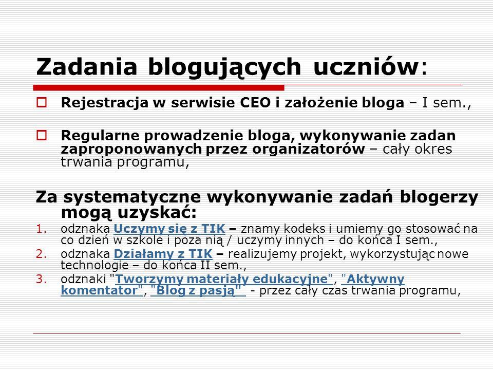 Zadania blogujących uczniów:  Rejestracja w serwisie CEO i założenie bloga – I sem.,  Regularne prowadzenie bloga, wykonywanie zadan zaproponowanych