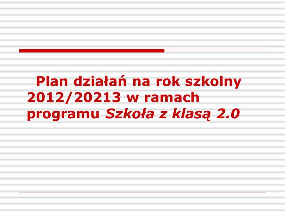Plan działań na rok szkolny 2012/20213 w ramach programu Szkoła z klasą 2.0