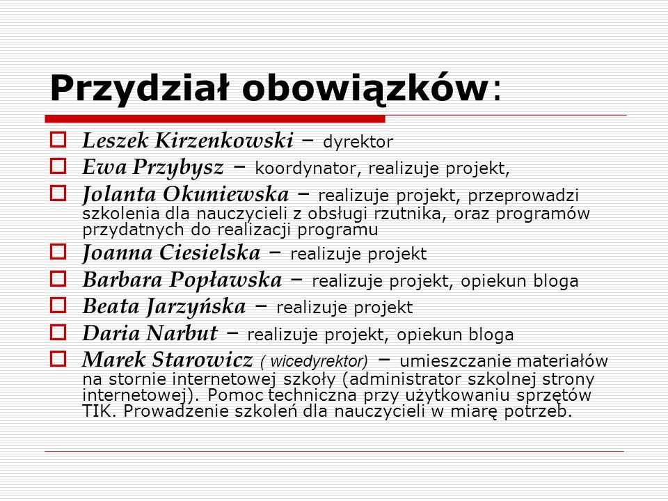Przydział obowiązków:  Leszek Kirzenkowski – dyrektor  Ewa Przybysz – koordynator, realizuje projekt,  Jolanta Okuniewska – realizuje projekt, prze