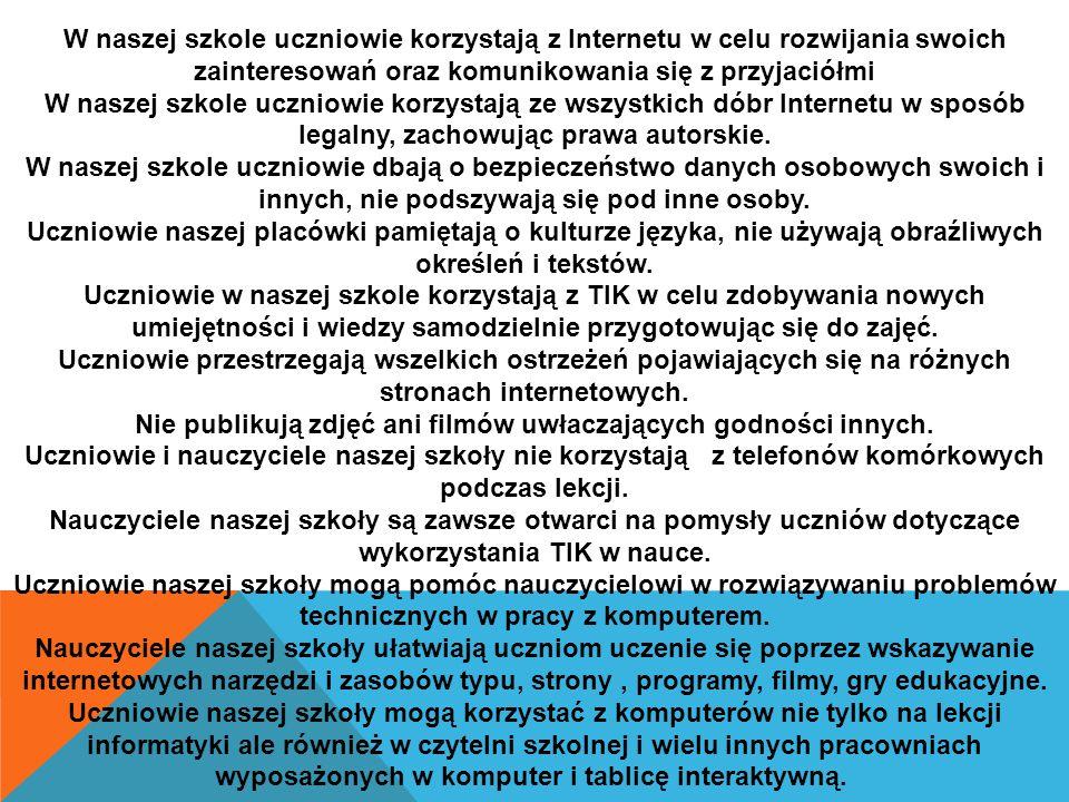 KODEKS 2.0 Zespołu Szkół Ogólnokształcących Nr17 w Kielcach W naszej szkole uczniowie korzystają z Internetu w celu rozwijania swoich zainteresowań oraz komunikowania się z przyjaciółmi W naszej szkole uczniowie korzystają ze wszystkich dóbr Internetu w sposób legalny, zachowując prawa autorskie.
