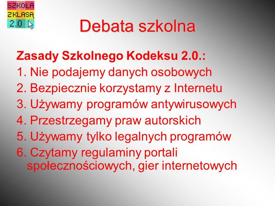 Zasady Szkolnego Kodeksu 2.0.: 1. Nie podajemy danych osobowych 2.