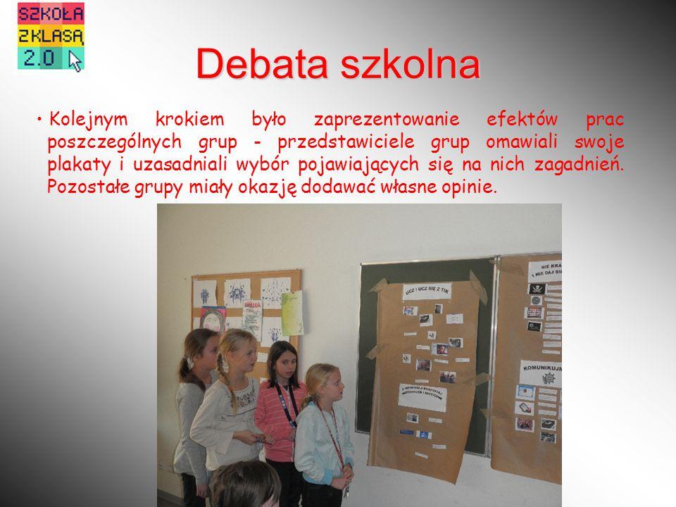 Kolejnym krokiem było zaprezentowanie efektów prac poszczególnych grup - przedstawiciele grup omawiali swoje plakaty i uzasadniali wybór pojawiających się na nich zagadnień.