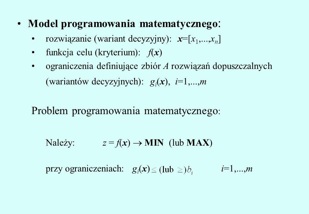 Model programowania matematycznego : rozwiązanie (wariant decyzyjny): x=[x 1,...,x n ] funkcja celu (kryterium): f(x) ograniczenia definiujące zbiór A rozwiązań dopuszczalnych (wariantów decyzyjnych): g i (x), i=1,...,m Problem programowania matematycznego : Należy:z = f(x)  MIN (lub MAX) przy ograniczeniach: g i (x) i=1,...,m