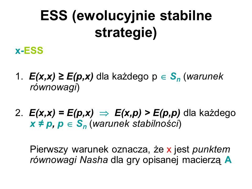ESS (ewolucyjnie stabilne strategie) x-ESS 1. E(x,x) ≥ E(p,x) dla każdego p  S n (warunek równowagi) 2. E(x,x) = E(p,x)  E(x,p) > E(p,p) dla każdego