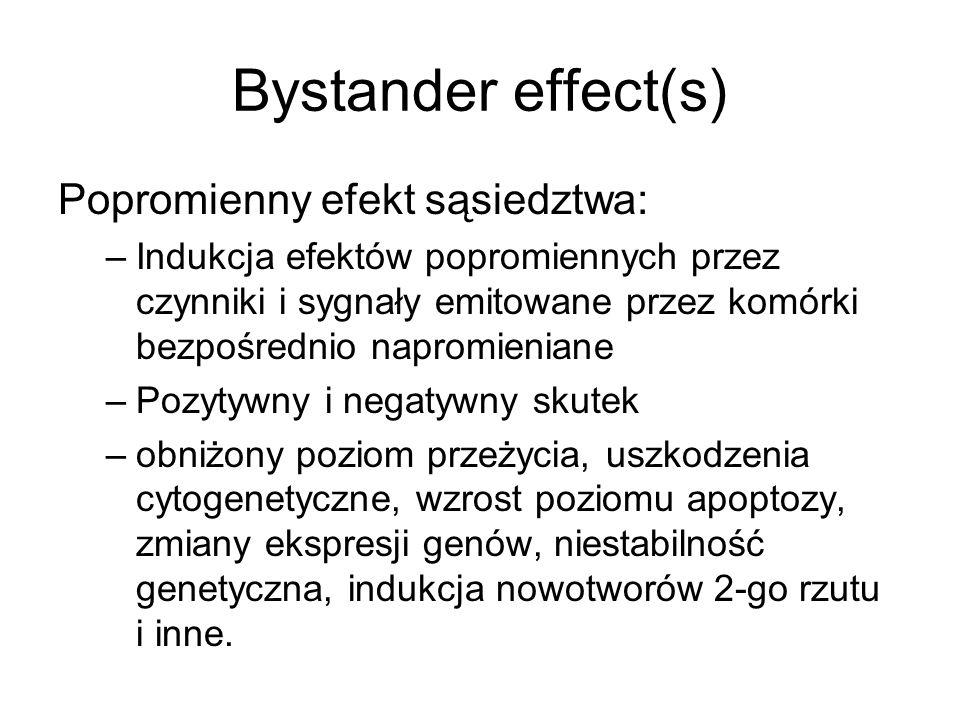 Bystander effect(s) Popromienny efekt sąsiedztwa: –Indukcja efektów popromiennych przez czynniki i sygnały emitowane przez komórki bezpośrednio naprom