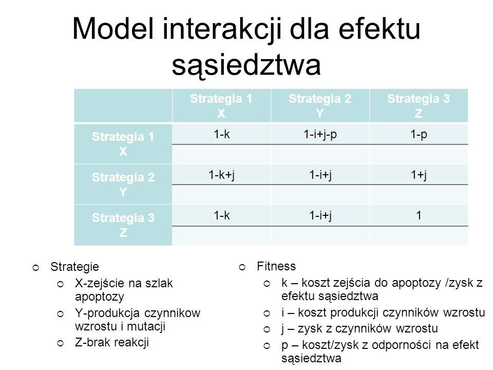 Model interakcji dla efektu sąsiedztwa Strategia 1 X Strategia 2 Y Strategia 3 Z Strategia 1 X 1-k1-i+j-p1-p Strategia 2 Y 1-k+j1-i+j1+j Strategia 3 Z