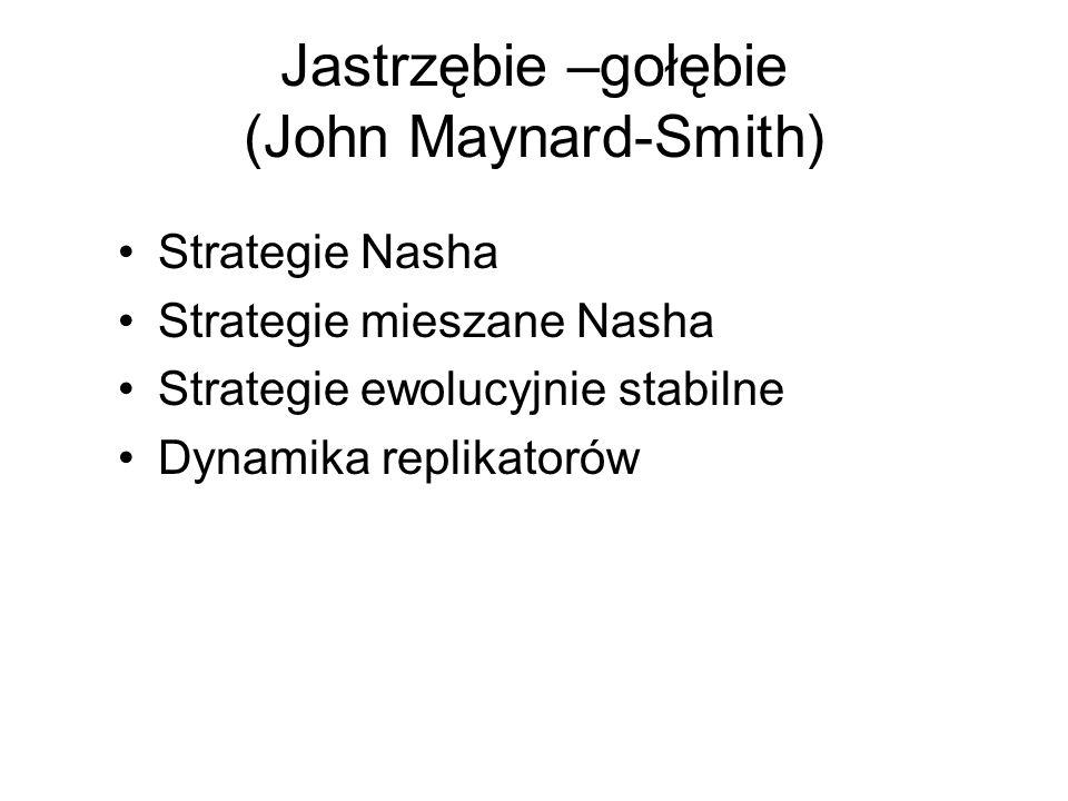 Jastrzębie –gołębie (John Maynard-Smith) Strategie Nasha Strategie mieszane Nasha Strategie ewolucyjnie stabilne Dynamika replikatorów