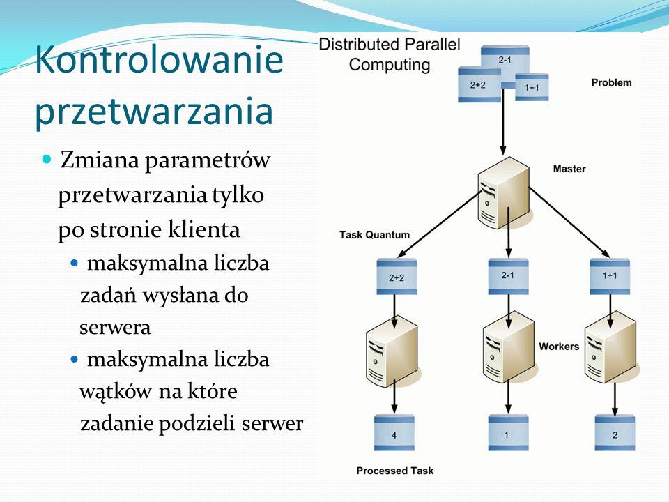 Kontrolowanie przetwarzania Zmiana parametrów przetwarzania tylko po stronie klienta maksymalna liczba zadań wysłana do serwera maksymalna liczba wątk