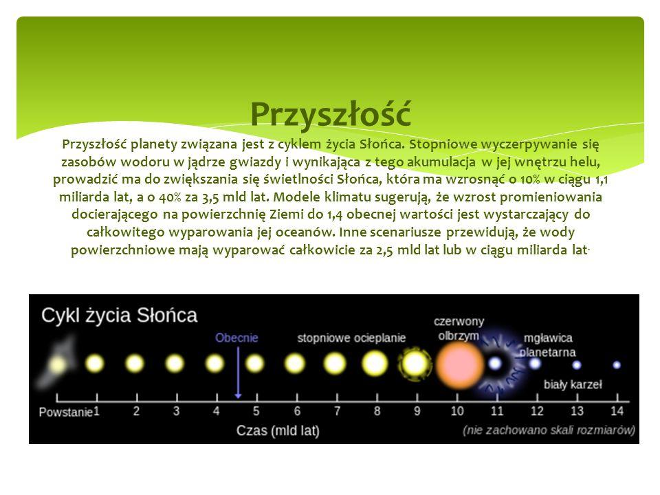 Przyszłość Przyszłość planety związana jest z cyklem życia Słońca.
