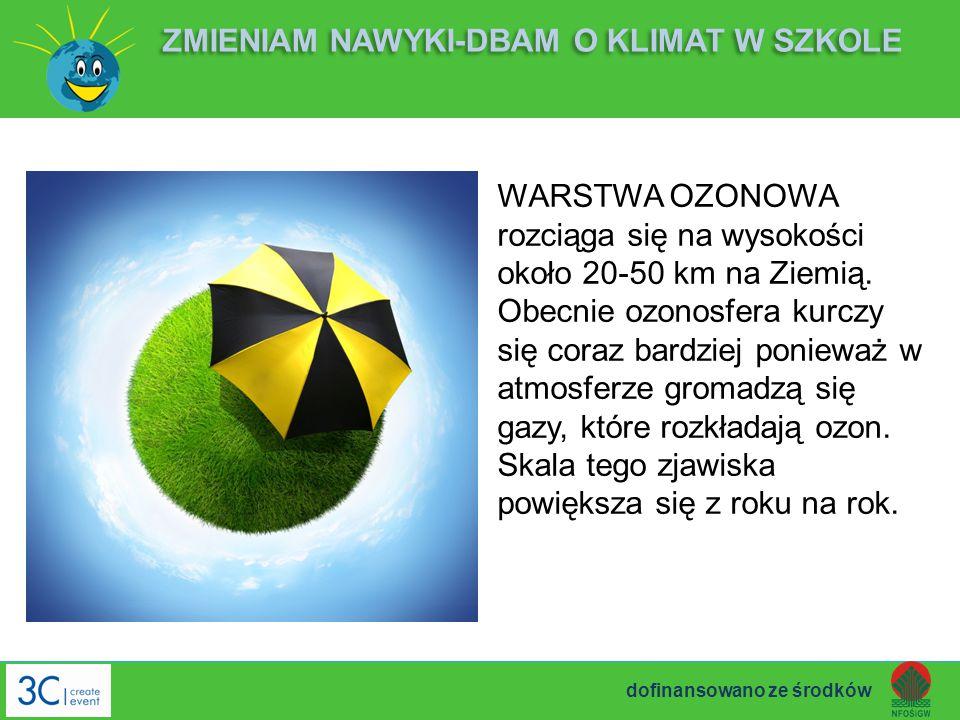 WARSTWA OZONOWA rozciąga się na wysokości około 20-50 km na Ziemią. Obecnie ozonosfera kurczy się coraz bardziej ponieważ w atmosferze gromadzą się ga