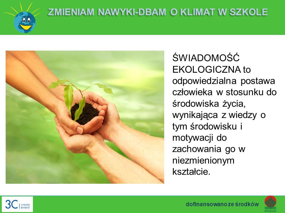 ŚWIADOMOŚĆ EKOLOGICZNA to odpowiedzialna postawa człowieka w stosunku do środowiska życia, wynikająca z wiedzy o tym środowisku i motywacji do zachowa