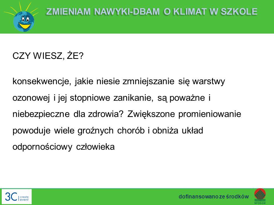CZY WIESZ, ŻE? konsekwencje, jakie niesie zmniejszanie się warstwy ozonowej i jej stopniowe zanikanie, są poważne i niebezpieczne dla zdrowia? Zwiększ