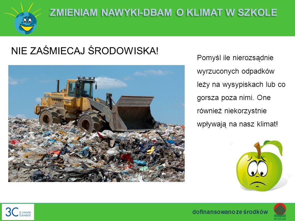 NIE ZAŚMIECAJ ŚRODOWISKA! ZMIENIAM NAWYKI-DBAM O KLIMAT W SZKOLE Pomyśl ile nierozsądnie wyrzuconych odpadków leży na wysypiskach lub co gorsza poza n