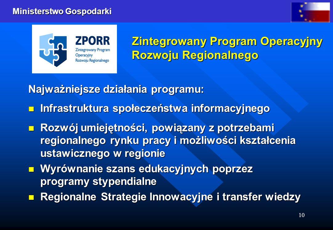 Ministerstwo Gospodarki 10 Zintegrowany Program Operacyjny Rozwoju Regionalnego Najważniejsze działania programu: Infrastruktura społeczeństwa informa