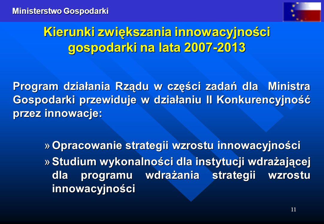 Ministerstwo Gospodarki 11 Kierunki zwiększania innowacyjności gospodarki na lata 2007-2013 Program działania Rządu w części zadań dla Ministra Gospod