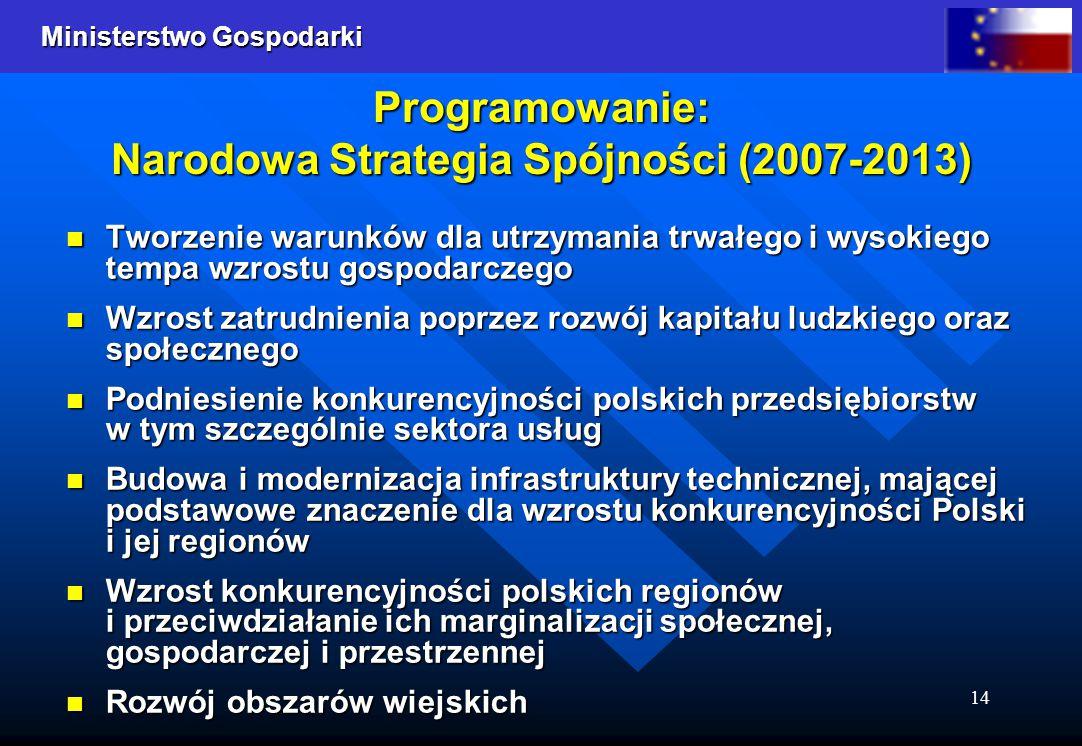 Ministerstwo Gospodarki 14 Programowanie: Narodowa Strategia Spójności (2007-2013) Tworzenie warunków dla utrzymania trwałego i wysokiego tempa wzrost