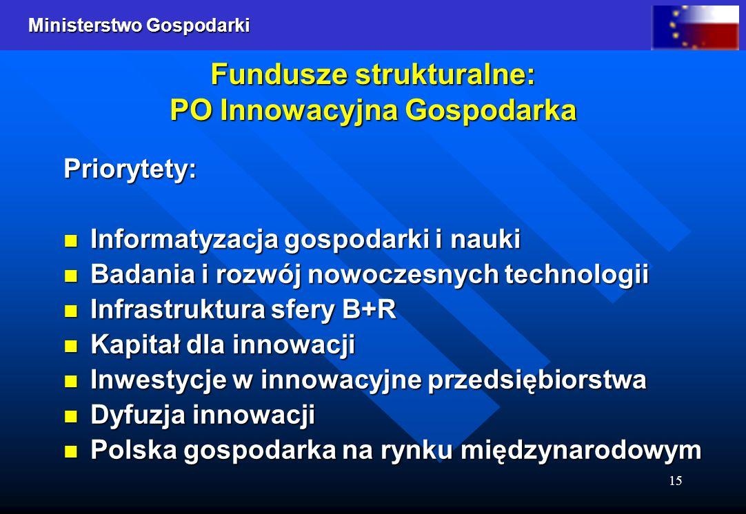 Ministerstwo Gospodarki 15 Fundusze strukturalne: PO Innowacyjna Gospodarka Priorytety: Informatyzacja gospodarki i nauki Informatyzacja gospodarki i
