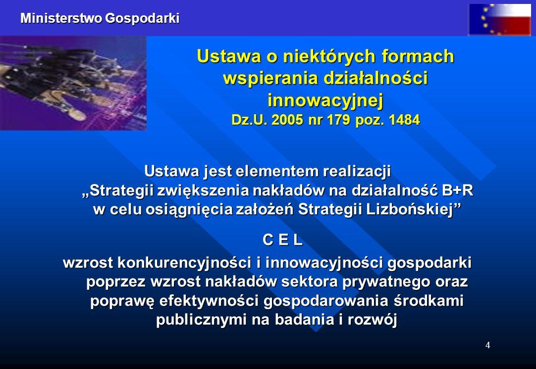 Ministerstwo Gospodarki 4 Ustawa o niektórych formach wspierania działalności innowacyjnej Dz.U. 2005 nr 179 poz. 1484 Ustawa jest elementem realizacj