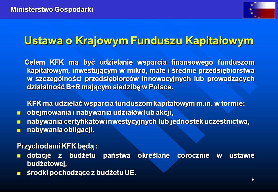 Ministerstwo Gospodarki 6 Ustawa o Krajowym Funduszu Kapitałowym Celem KFK ma być udzielanie wsparcia finansowego funduszom kapitałowym, inwestującym