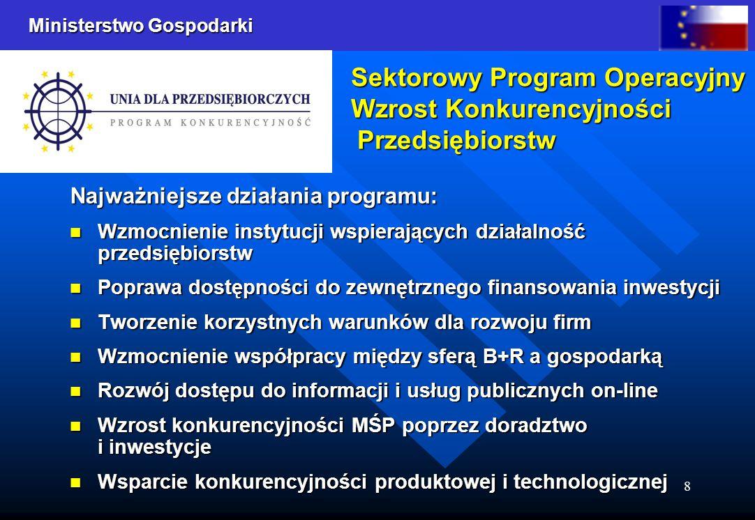 Ministerstwo Gospodarki 8 Sektorowy Program Operacyjny Wzrost Konkurencyjności Przedsiębiorstw Sektorowy Program Operacyjny Wzrost Konkurencyjności Pr