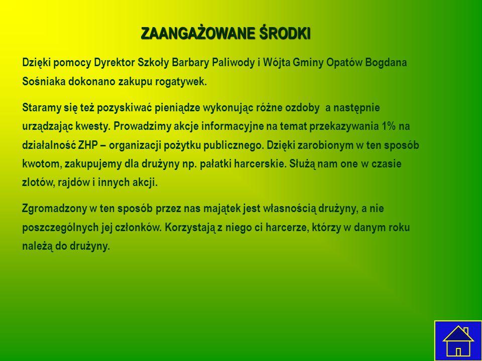 ZAANGAŻOWANE ŚRODKI Dzięki pomocy Dyrektor Szkoły Barbary Paliwody i Wójta Gminy Opatów Bogdana Sośniaka dokonano zakupu rogatywek. Staramy się też po