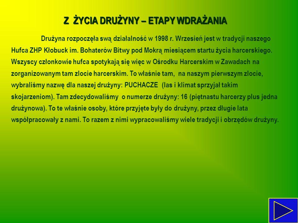 Z ŻYCIA DRUŻYNY – ETAPY WDRAŻANIA Drużyna rozpoczęła swą działalność w 1998 r. Wrzesień jest w tradycji naszego Hufca ZHP Kłobuck im. Bohaterów Bitwy