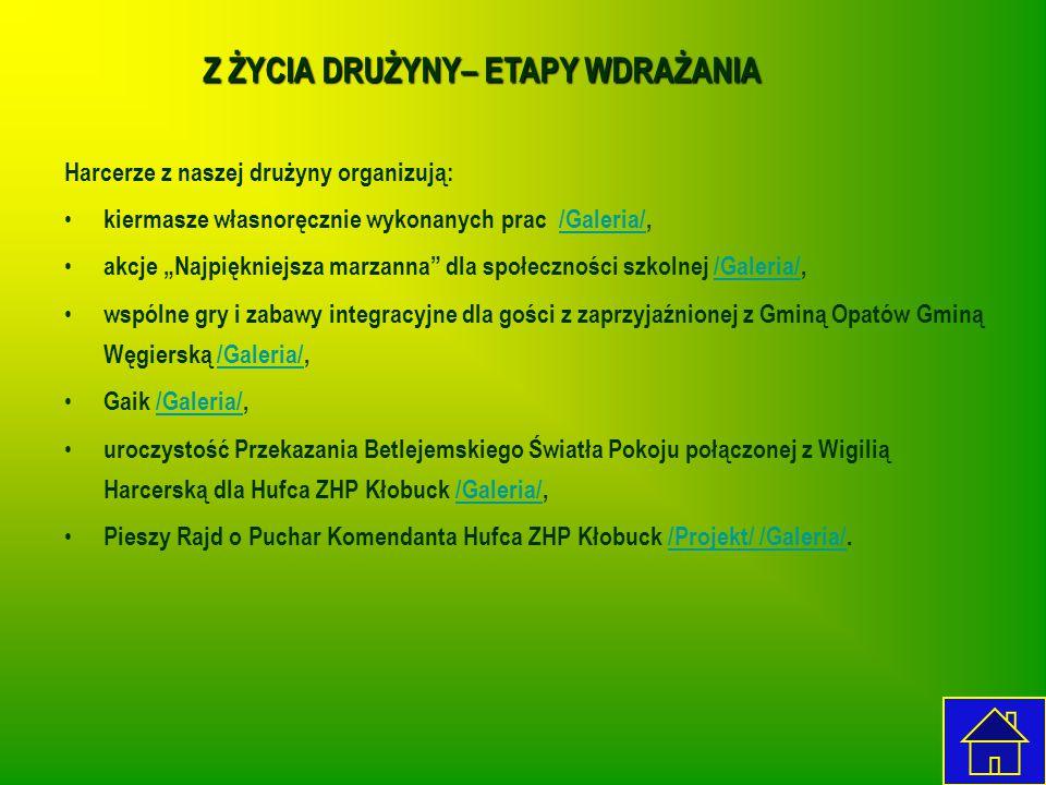 """Z ŻYCIA DRUŻYNY– ETAPY WDRAŻANIA Harcerze z naszej drużyny organizują: kiermasze własnoręcznie wykonanych prac /Galeria/,/Galeria/ akcje """"Najpiękniejs"""