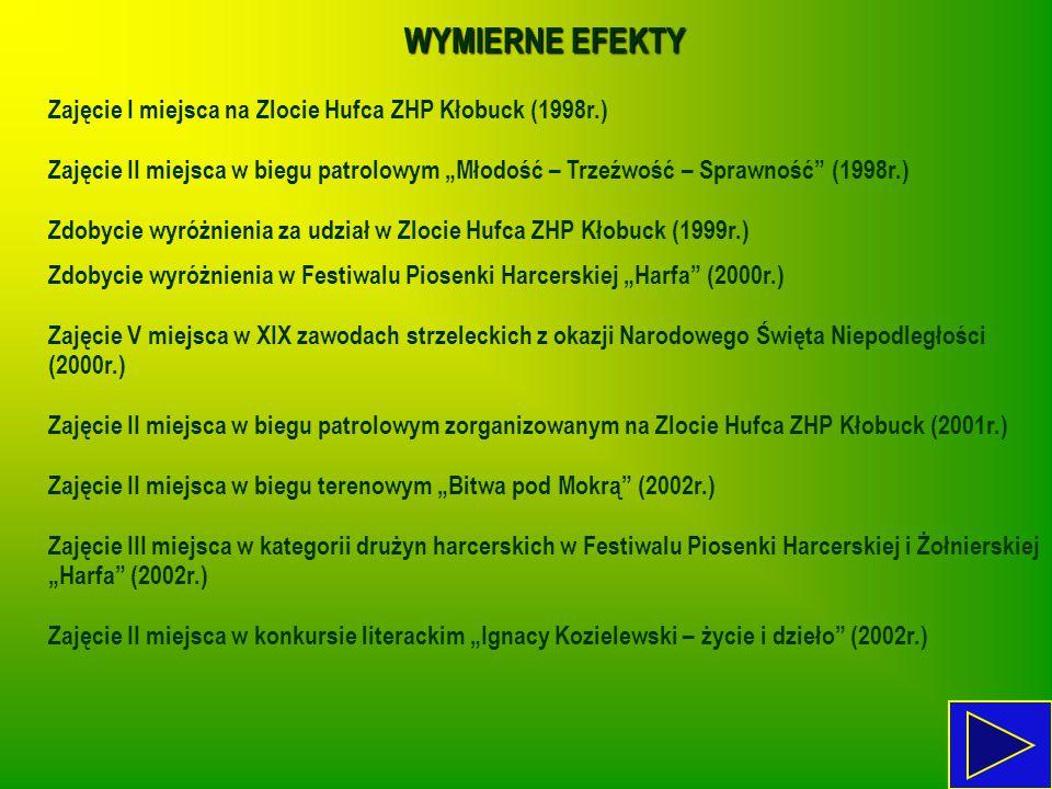 """WYMIERNE EFEKTY Zajęcie I miejsca na Zlocie Hufca ZHP Kłobuck (1998r.) Zajęcie II miejsca w biegu patrolowym """"Młodość – Trzeźwość – Sprawność"""" (1998r."""