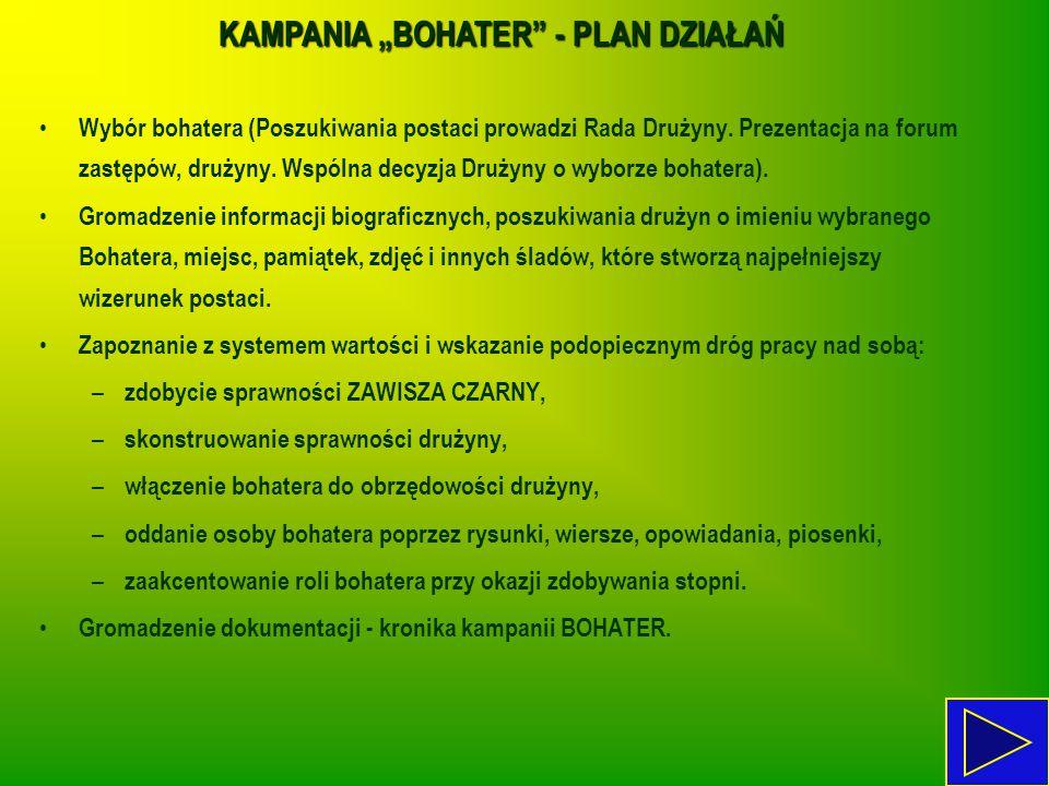"""KAMPANIA """"BOHATER"""" - PLAN DZIAŁAŃ Wybór bohatera (Poszukiwania postaci prowadzi Rada Drużyny. Prezentacja na forum zastępów, drużyny. Wspólna decyzja"""