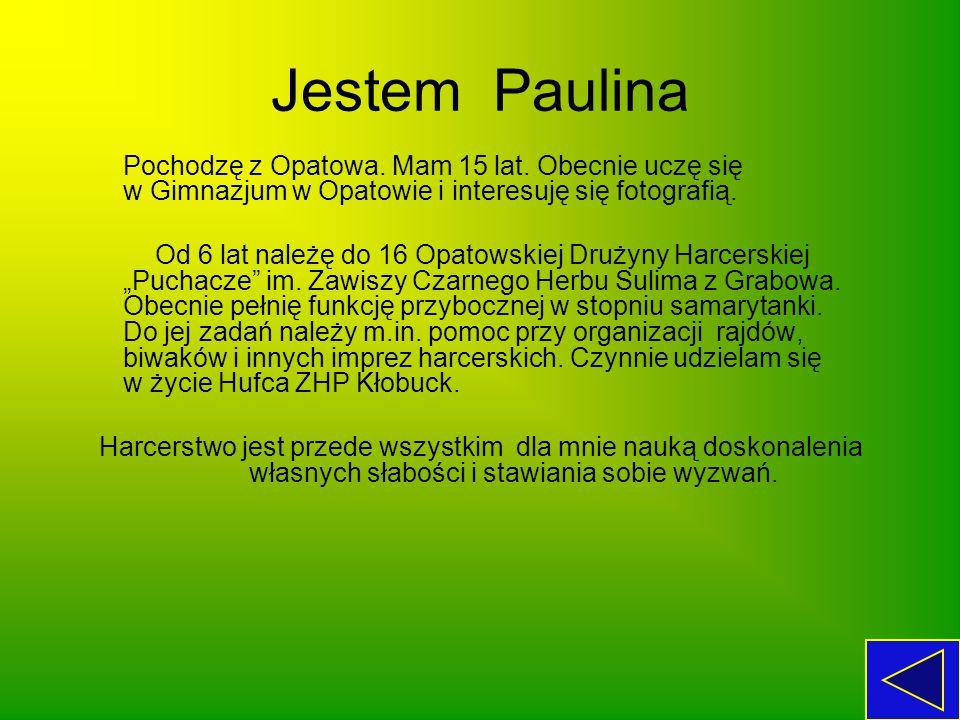 Jestem Paulina Pochodzę z Opatowa. Mam 15 lat. Obecnie uczę się w Gimnazjum w Opatowie i interesuję się fotografią. Od 6 lat należę do 16 Opatowskiej