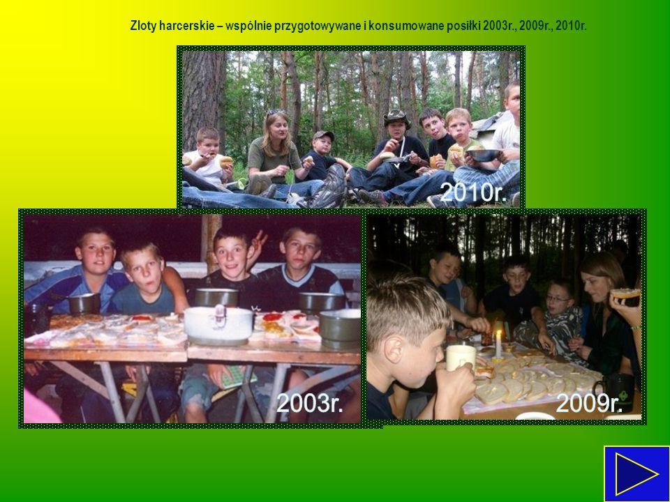 Zloty harcerskie – wspólnie przygotowywane i konsumowane posiłki 2003r., 2009r., 2010r.