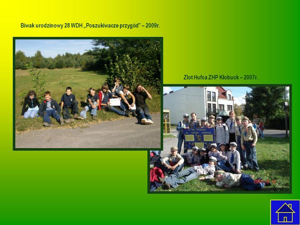 """Biwak urodzinowy 28 WDH """"Poszukiwacze przygód"""" – 2009r. Zlot Hufca ZHP Kłobuck – 2007r."""